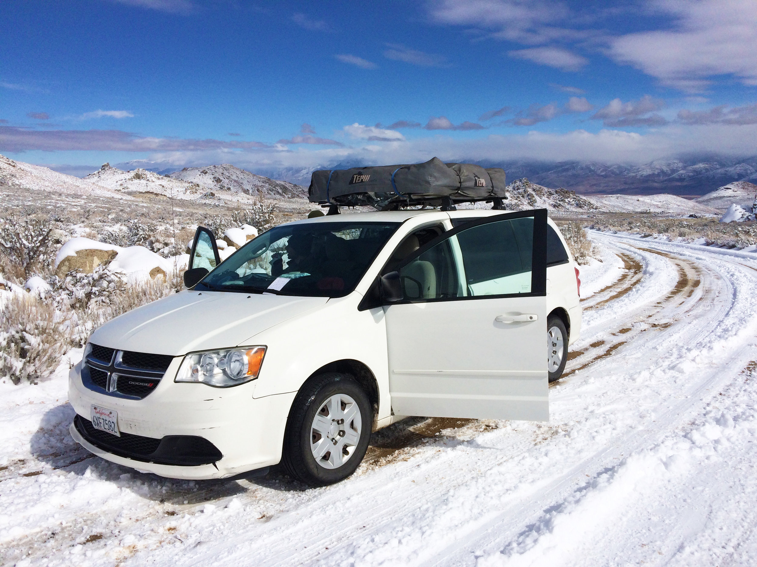 Our rental camper van out of LA, Rachel, was not equipped to handle the unexpected snowfall and she got stuck on Buttermilk Rd. We parked her there and hoofed it the rest of the way in!