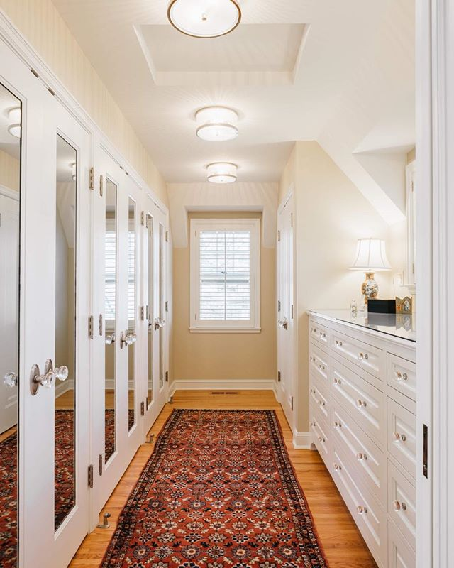 What's your favorite room in your house? Could it be your closet?? I love the mirrored doors on this clients' walk in closet. #mirroredcloset #designedbyjoy #renovate #designinspo #home