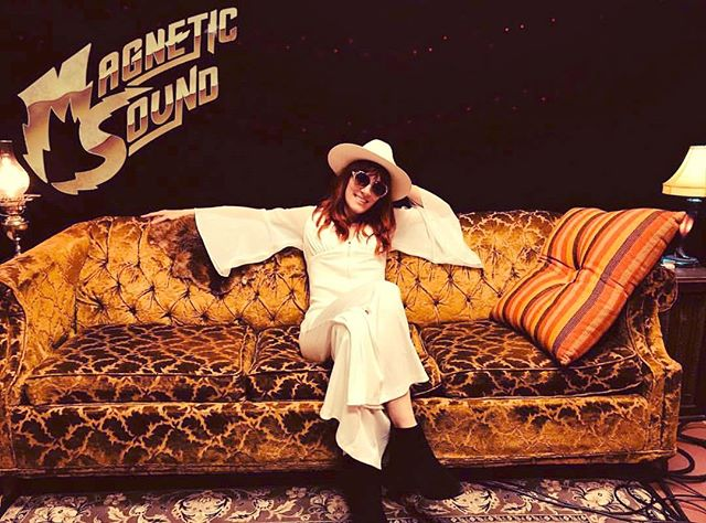 Little video project today at @magnetic_sound_studio in East Nashville and it's sounding as warm as this gold velvet couch. And polyester in August. . . #eastnashville #outlawcountry #jumpsuit #70s #recordingstudio #recordingartist #cowgirl #honkytonk #angel #altcountry #americanartist