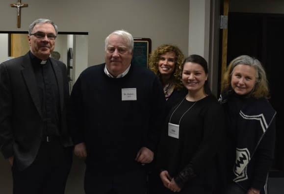Father Neal Quartier, Dr. David Dasher, Kathleen Komar, Olga Kondrya and Dr. Lynn Satterly