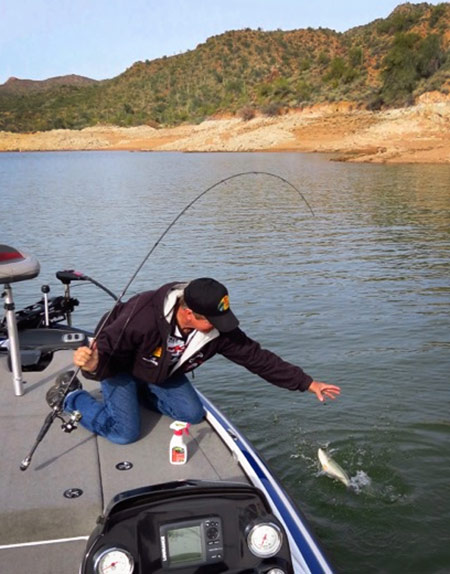 Gary Senft will throw a drop shot while his partner fishes a reaction bait. Once a fish is caught, they'll stay there and fish it for a bit.