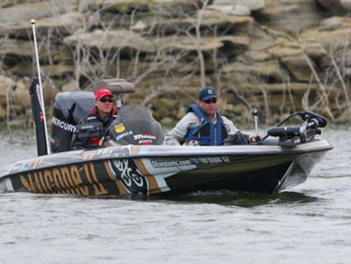 Pete fishing as an amateur with Brent Chapman at the now-legendary 2008 Elite Series tournament on Falcon.  - photo by James Overstreet