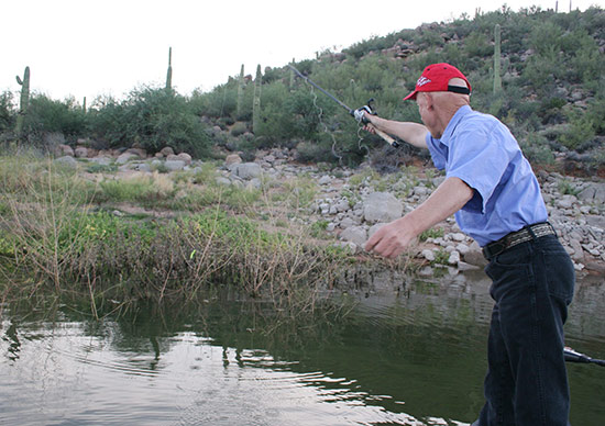 - Pitching a Texas-rigged Senko to the brush.