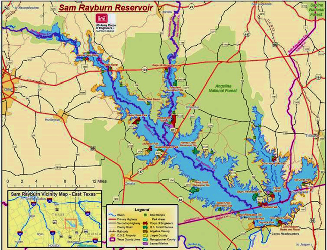 Lake Rayburn is the largest man-made impoundment in Texas.