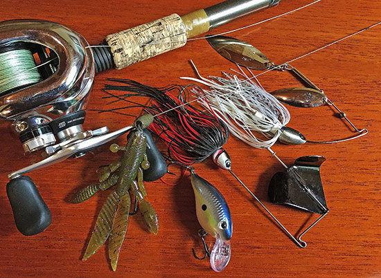 My best lures during the event included a (L-R) Yamamoto Flappin Hog, Rapala DT-4. Hildebrandt SqueakEasy and Tin Roller.