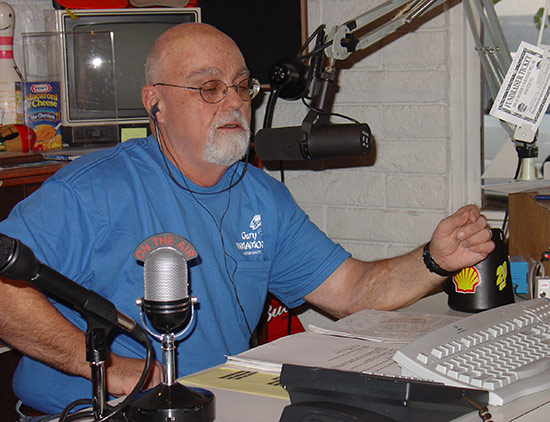 "Bubba ""on the horn"" at the local radio station.Photo courtesy of Marc Marcantonio"