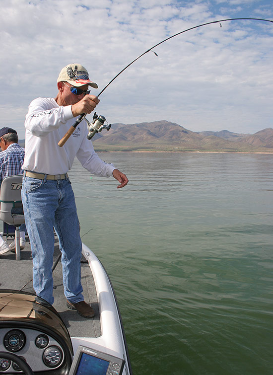 Split shotting is best done with a sturdy spinning rod and a reel that can quickly take up line. You need a fast tip and backbone.