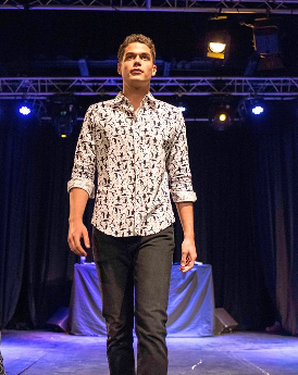 Our model, Marcell, walking the runway in a shirt from GFW at our first show!