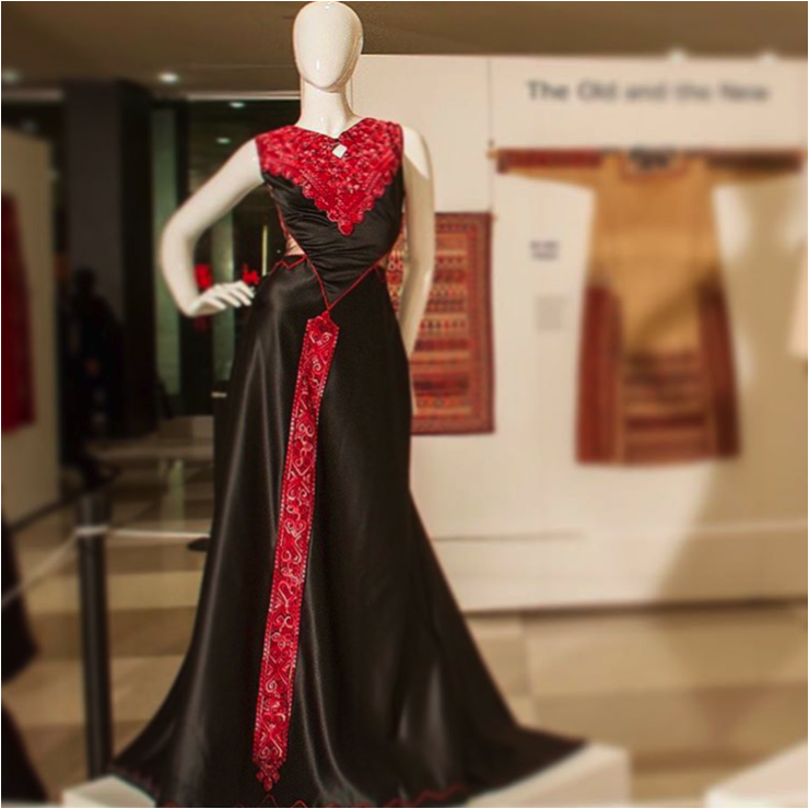 Dress by  Jamal Taslaq , on display at the UN exhibit for the International Day of Solidarity with the Palestinian people, in 2014.