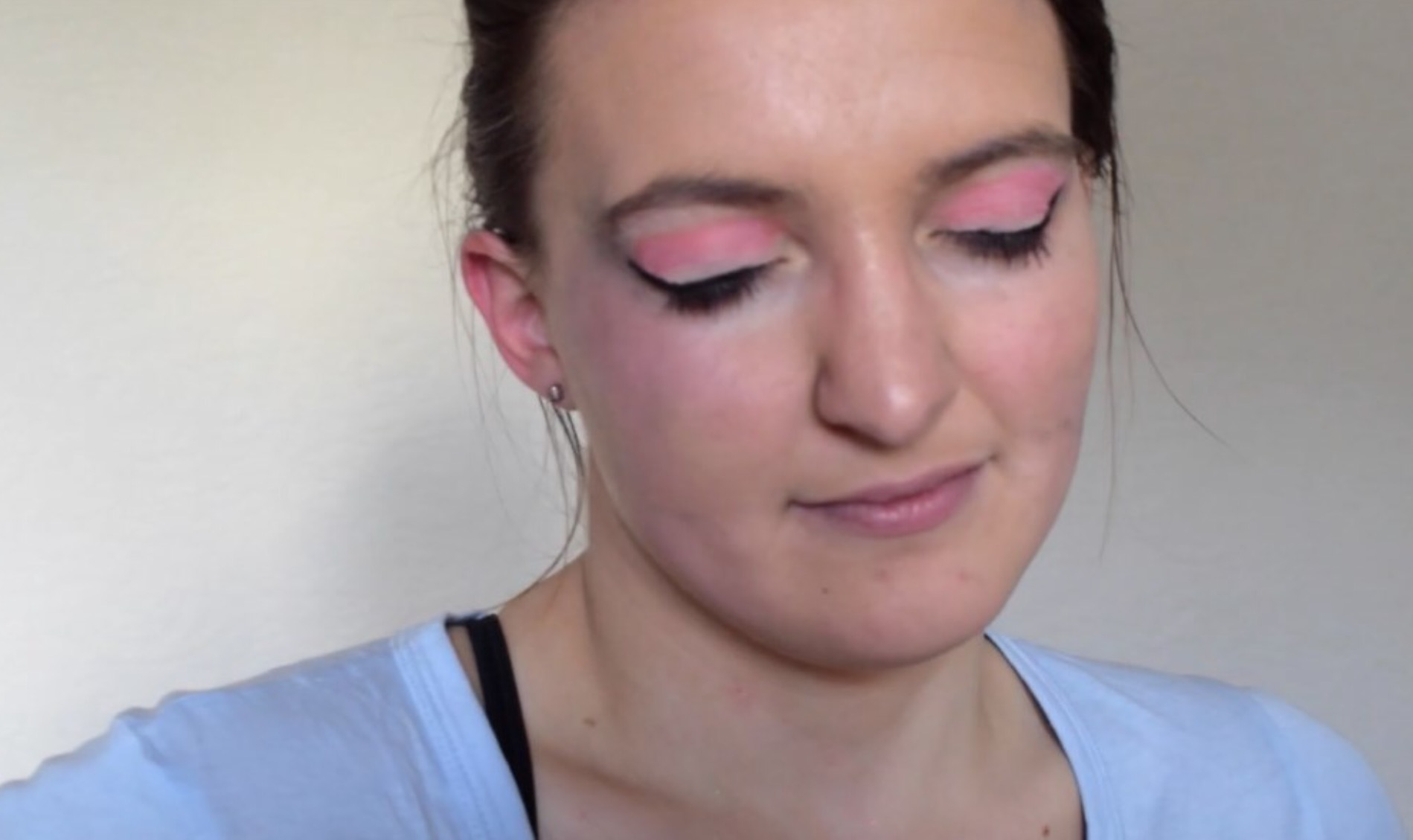 Katie : 'I don't think it's too bad considering I haven't done a cut crease before, but I definitely would not wear this every day.'