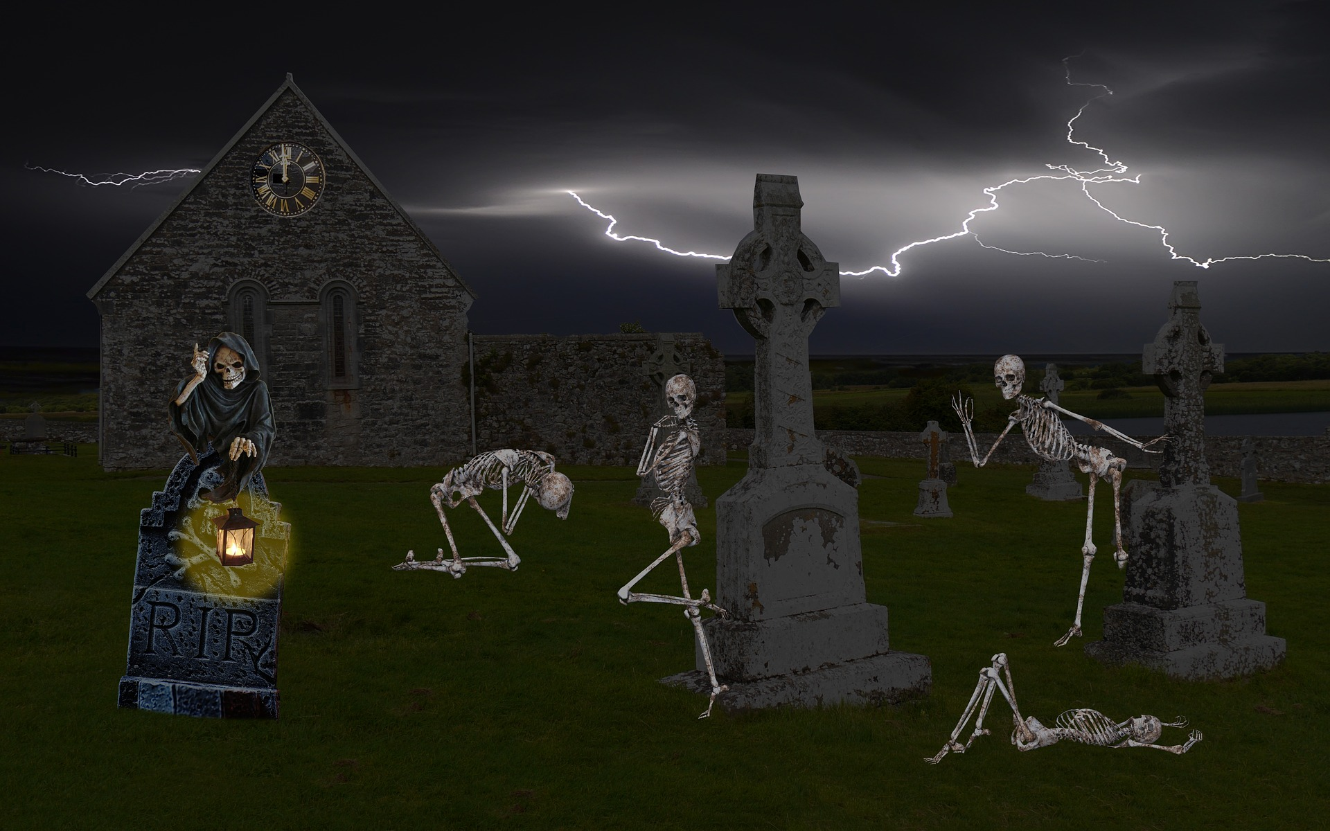 These must be some LGBTQ+ skeletons because they are coming out for Hallowe'en with camp, great dance poses, and absolutely no clothing!