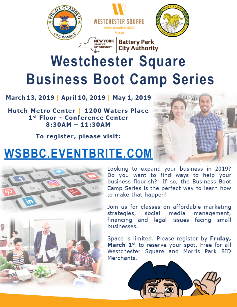 Business BootCamps - March 13, April 10, and May 1, 2019Register here https://wsbbc.eventbrite.com