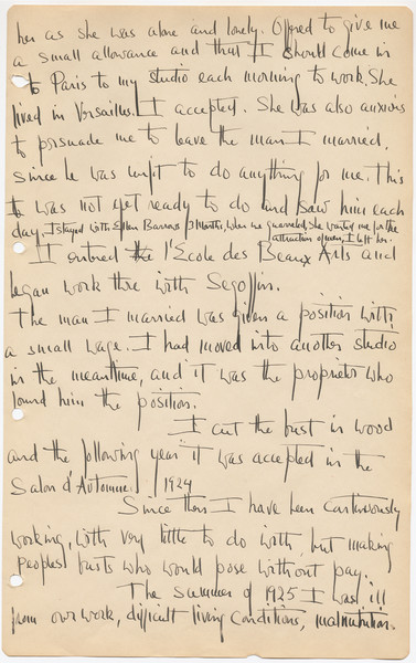 a page from  Nancy Elizabeth Prophet's diary