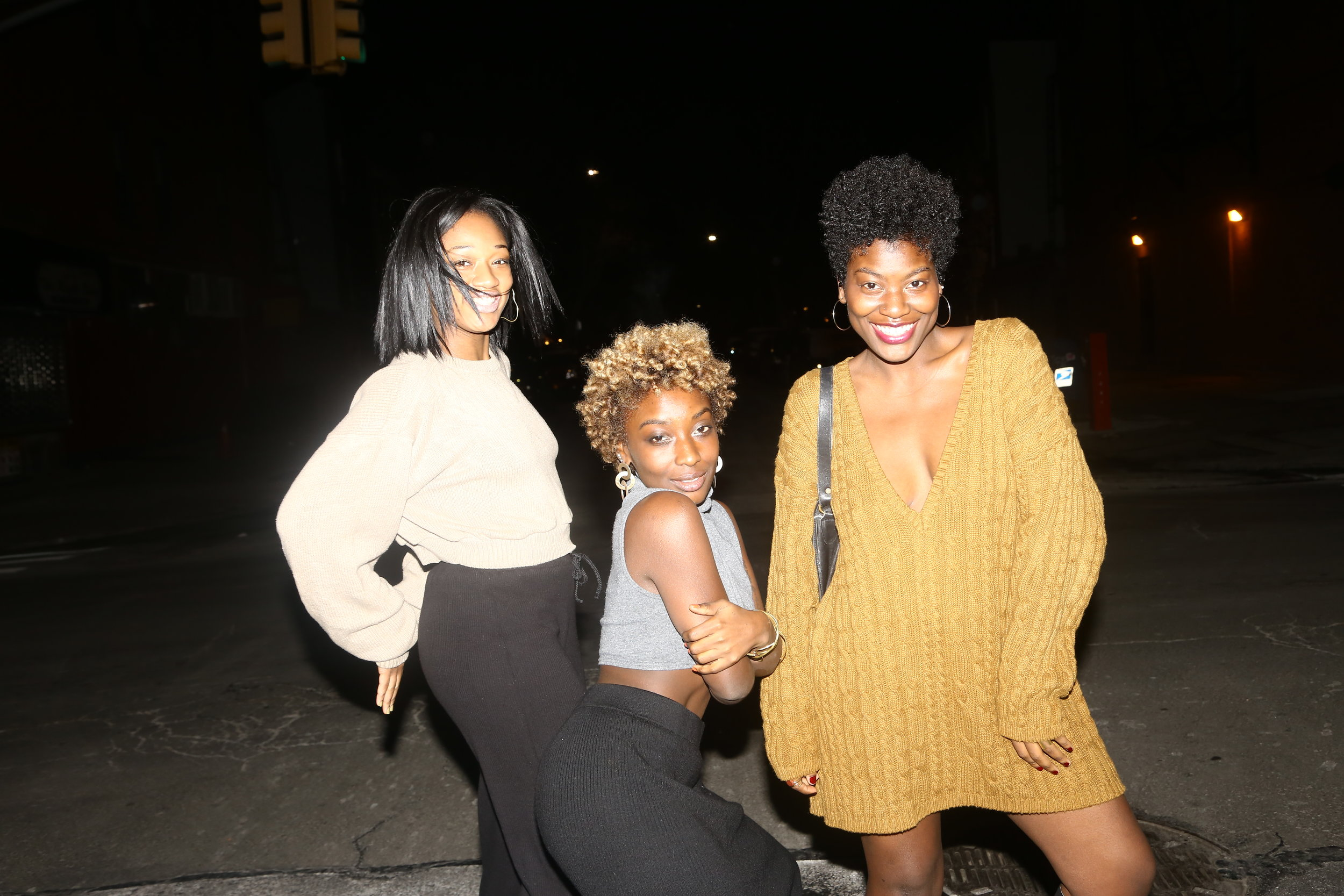 To Sade's right:her twin sister, Samantha (short blonde 'fro)