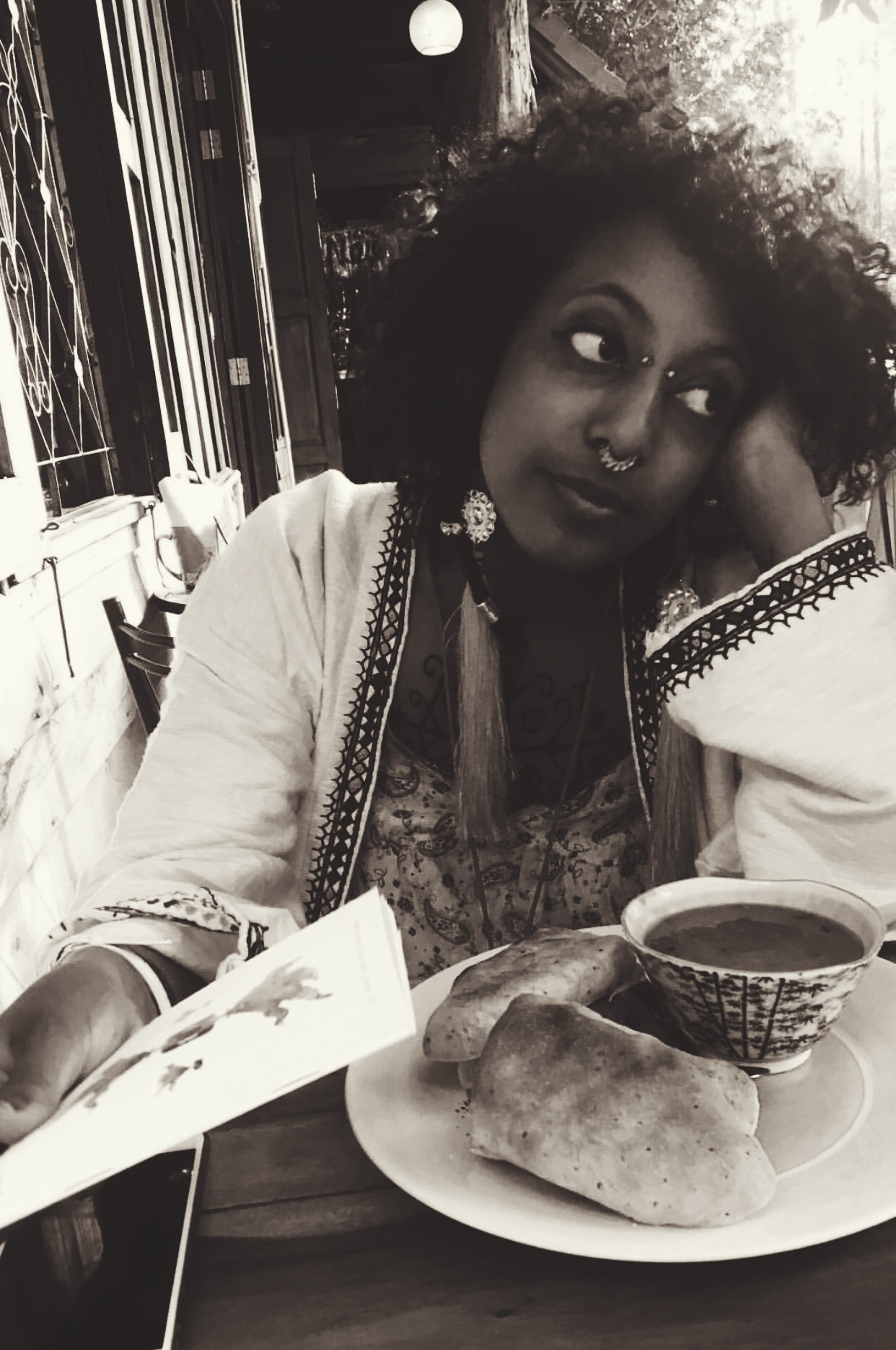 Gabrielle Tesfaye in Thailand with her A6 passport notebook (a gift from VGB diarist Giselle.)