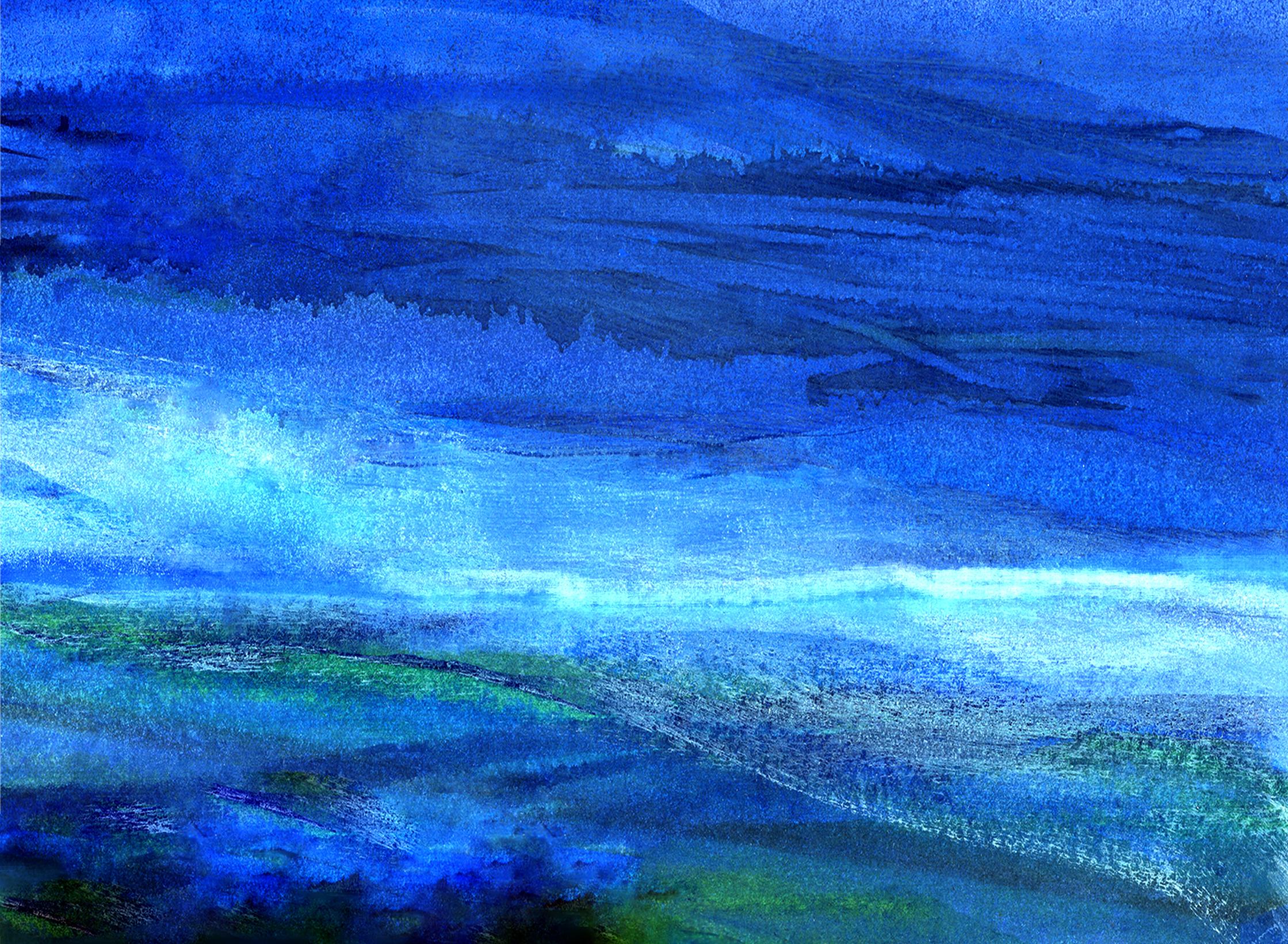 RHYTHM IN BLUES, Watercolour, 18x20