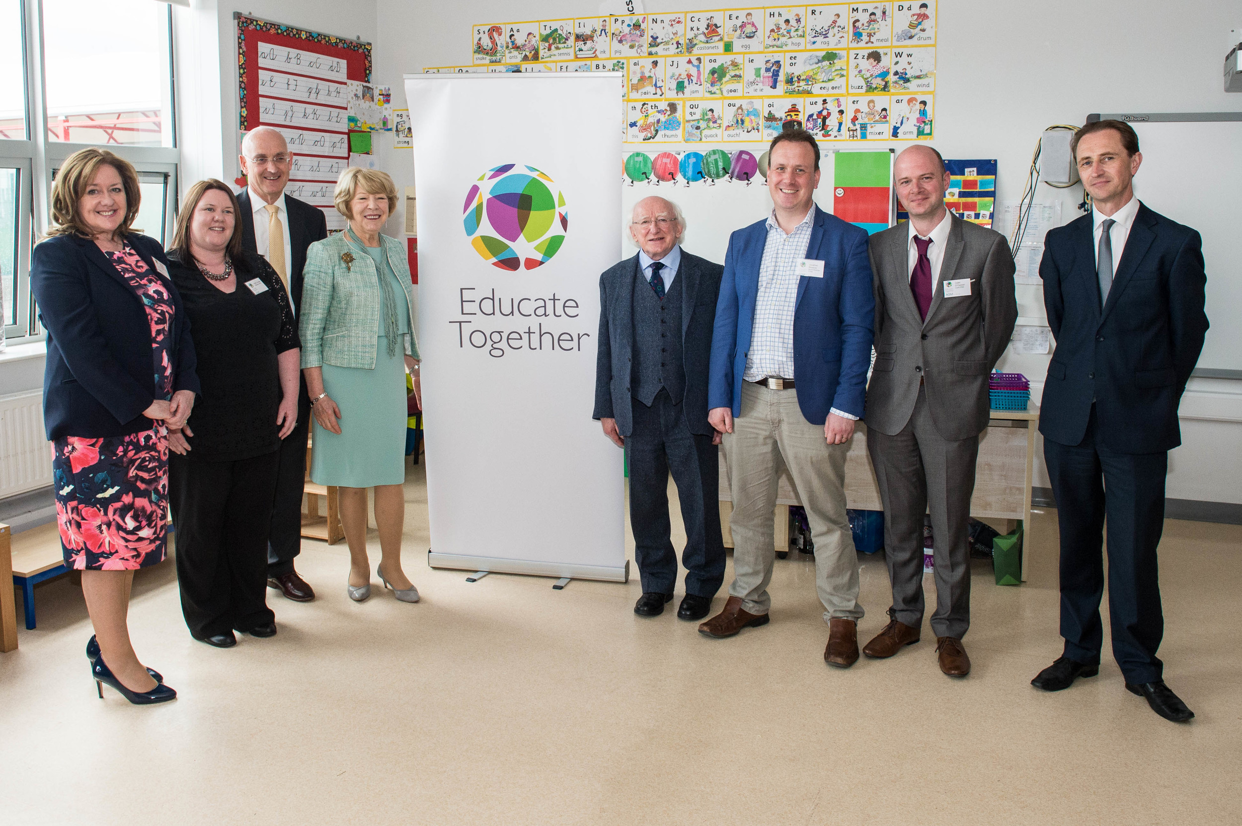 Colm with President Michael D. Higgins, his wife Sabina and the principals from Stepaside, Bremore and North Wicklow Educate Together Secondary Schools - all opening in 2016