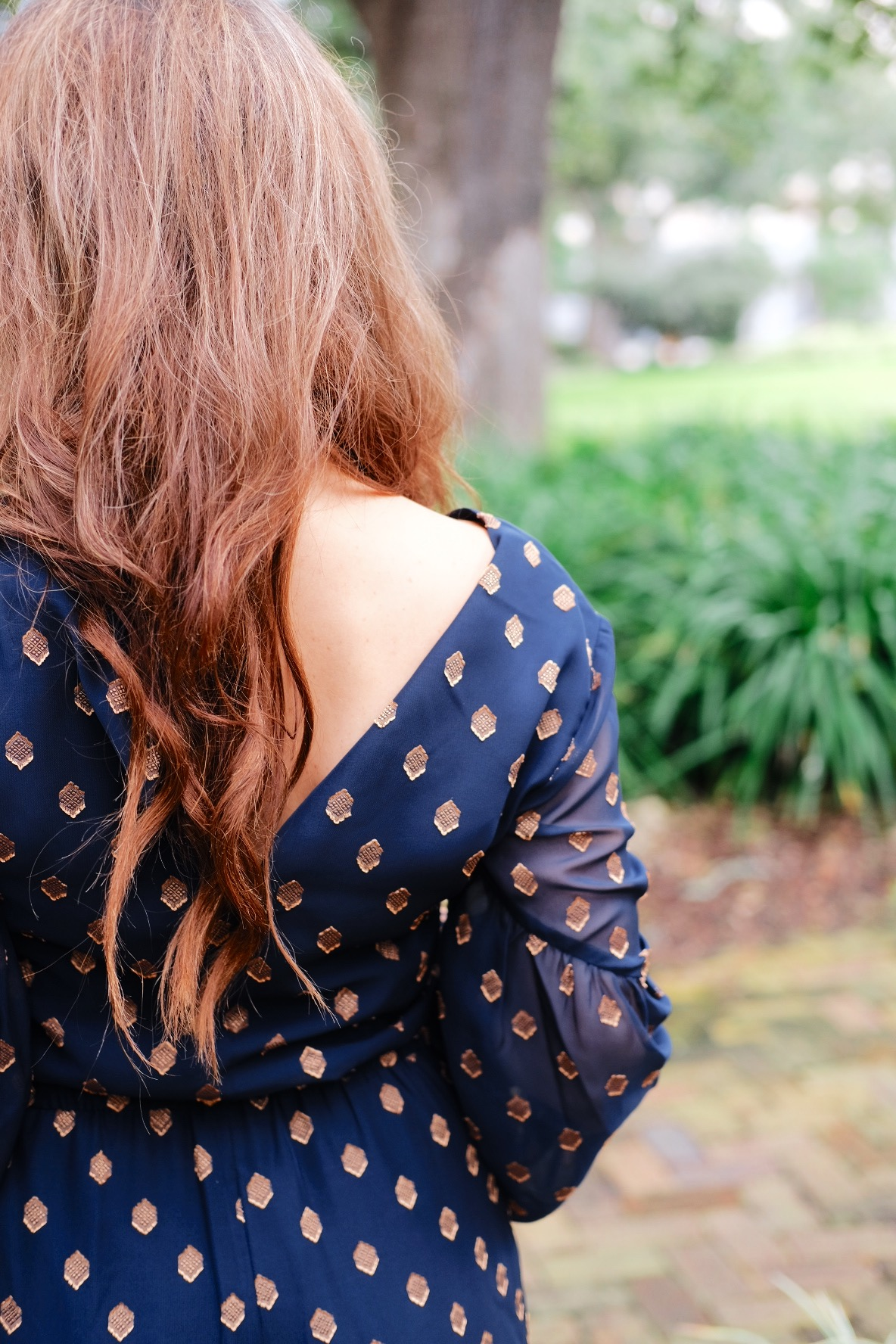 Brenna Lauren back of blue jumper in Savannah, Georgia