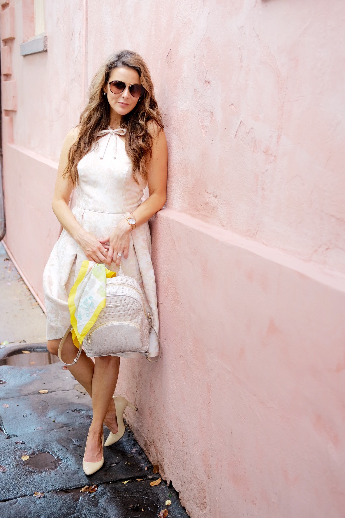Brenna Lauren Michaels in blush pink Gal Meets Glam Dress