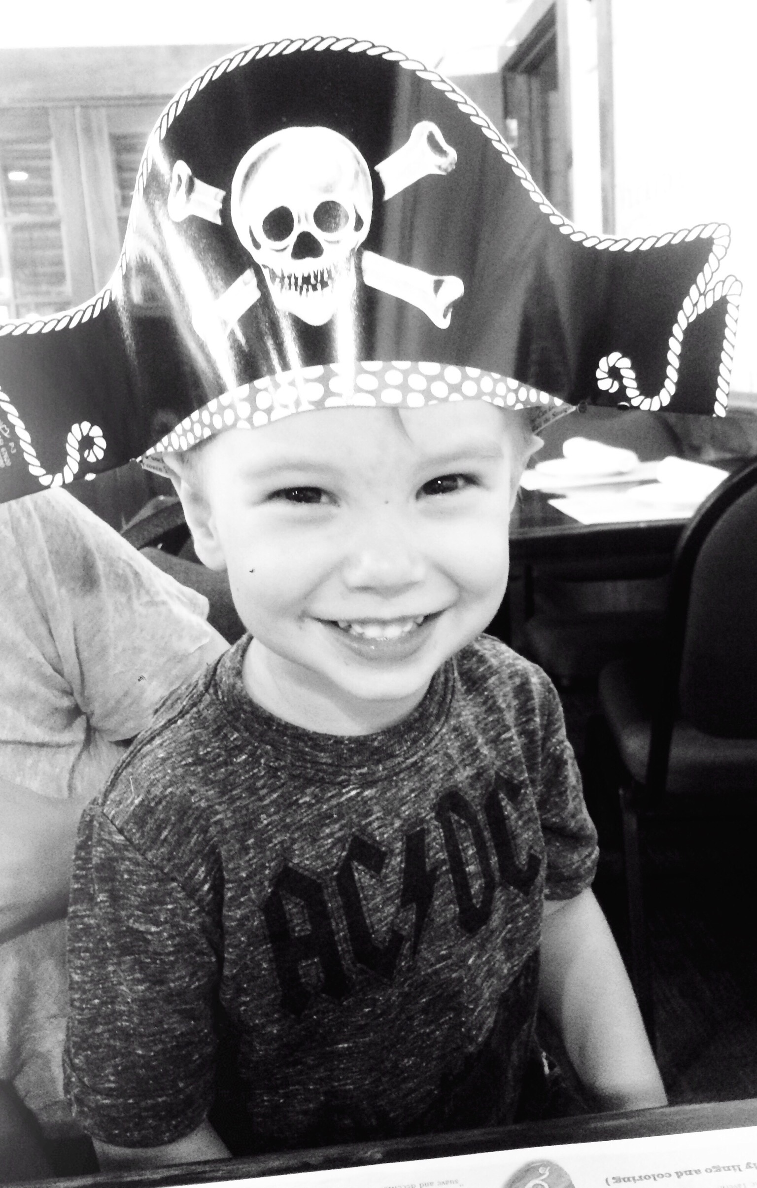 Rhett wearing a pirate hat at The Pirate's House in Savannah, Georgia