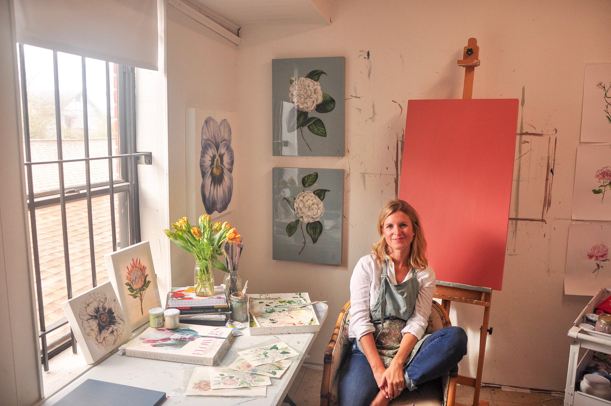 Savannah-based Acrylic Painter and Resin Artist, Mary Margaret Monsees in her studio.