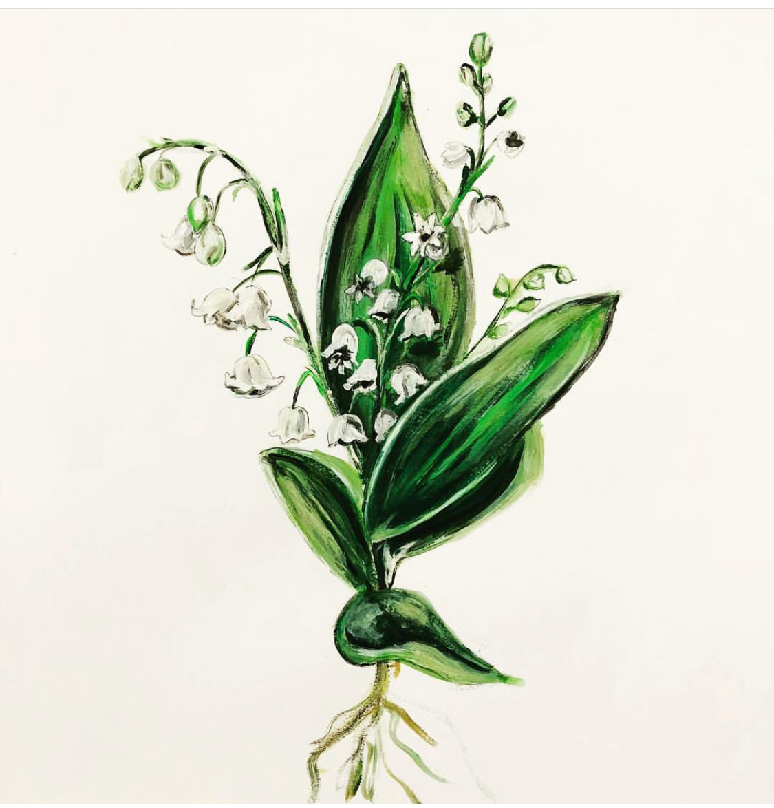 Lilly of the Valley , acrylic on paper | by Mary Margaret Monsees, photo courtesy of her Instagram,  @mstudio