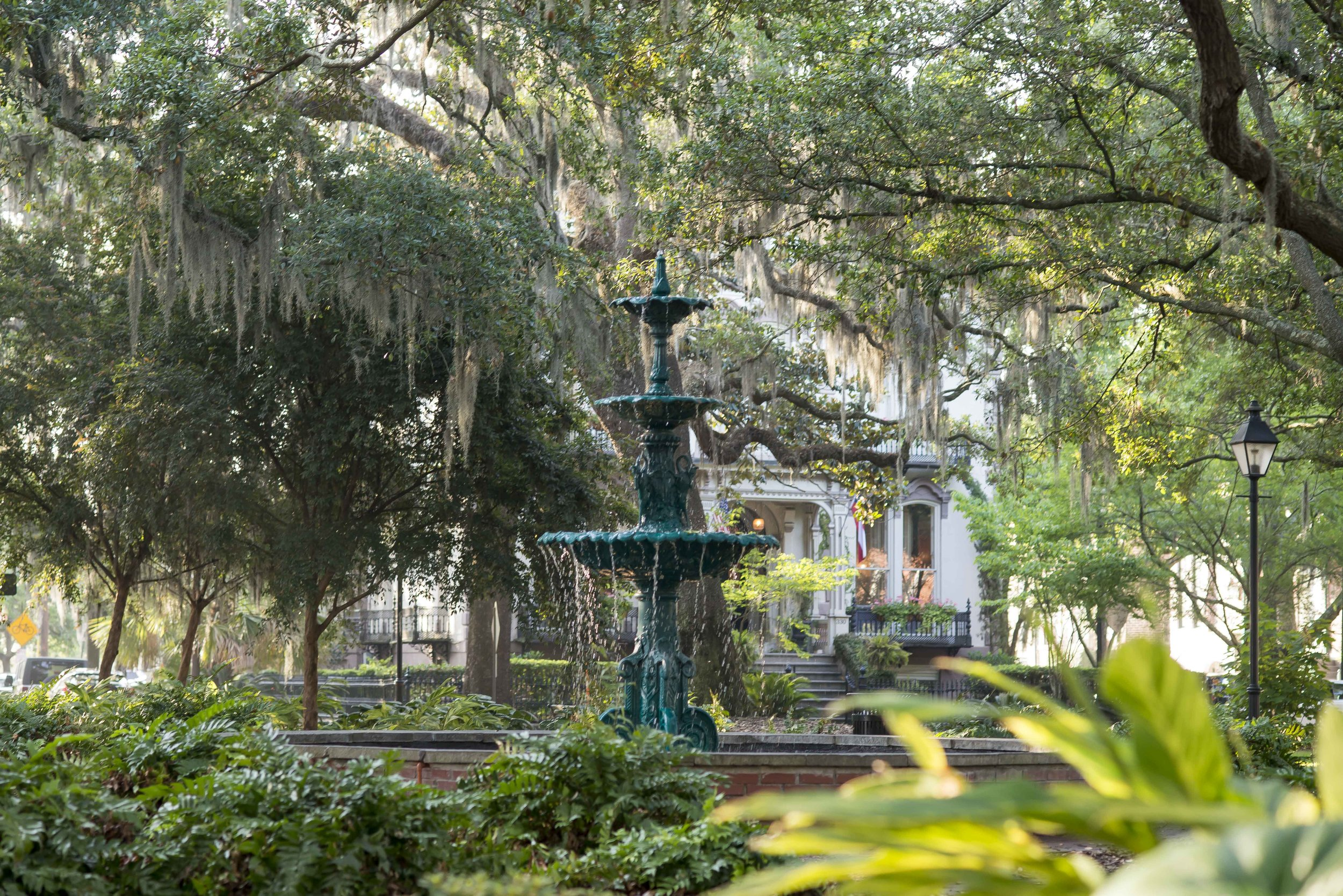 LaFayette Square in Savannah's Historic District is a lovely place to find some cool shade in Savannah's hot summer months
