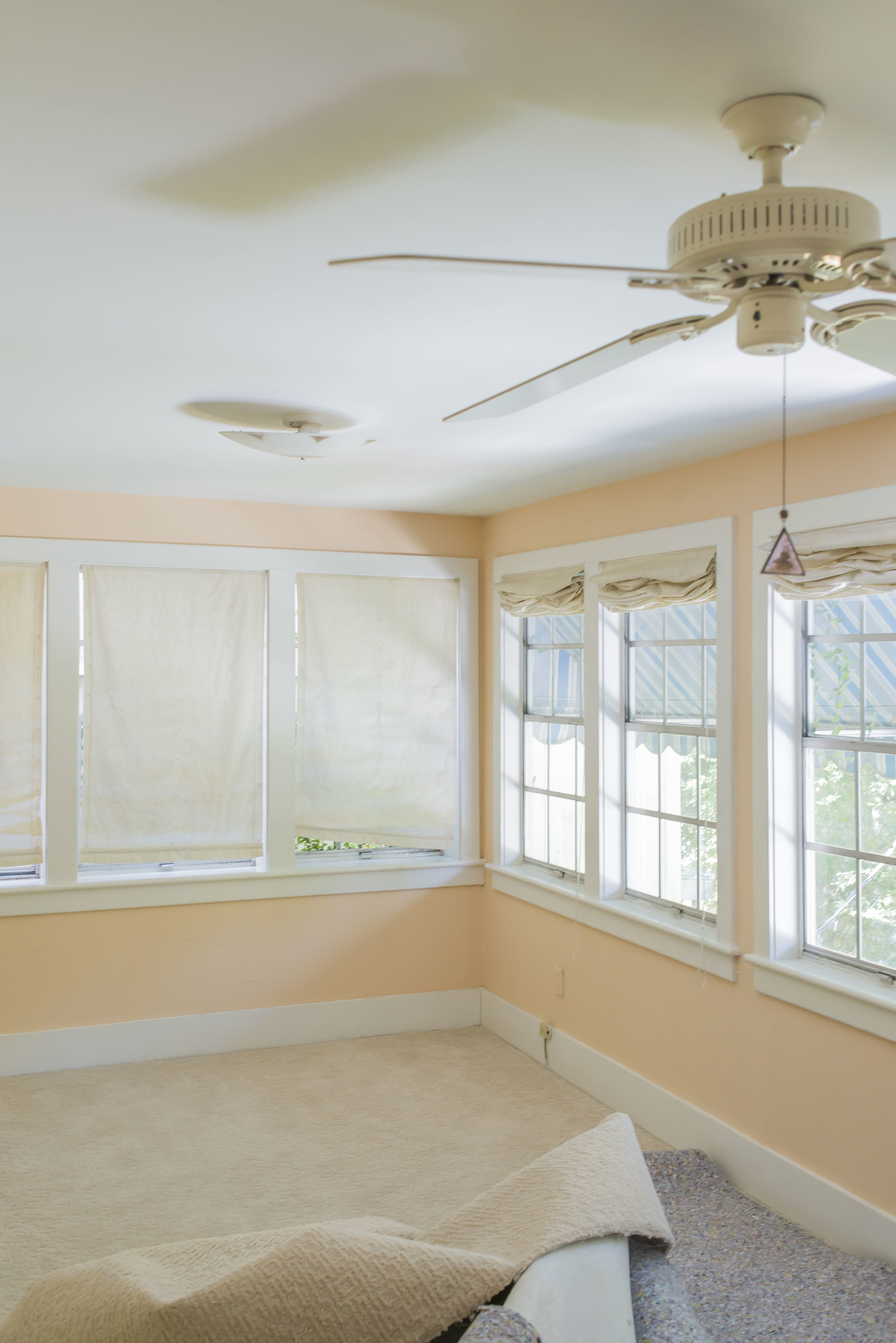 The back bedroom, once an artist's studio, was in pretty decent shape, aside from needing new floors and windows, fresh paint, crown, and new light fixtures.