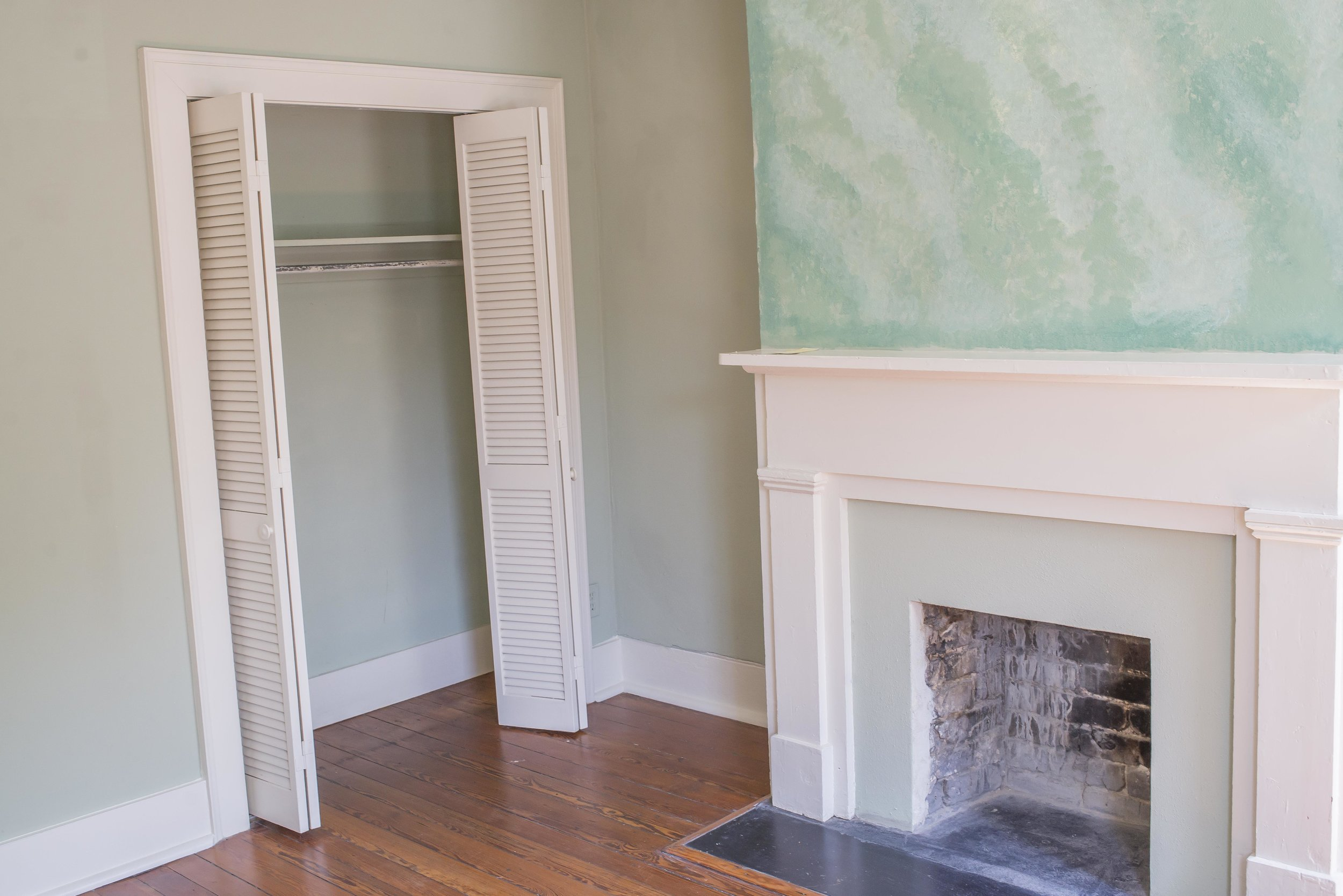 The master bedroom was very green and very small, but again, the fireplace is very charming.