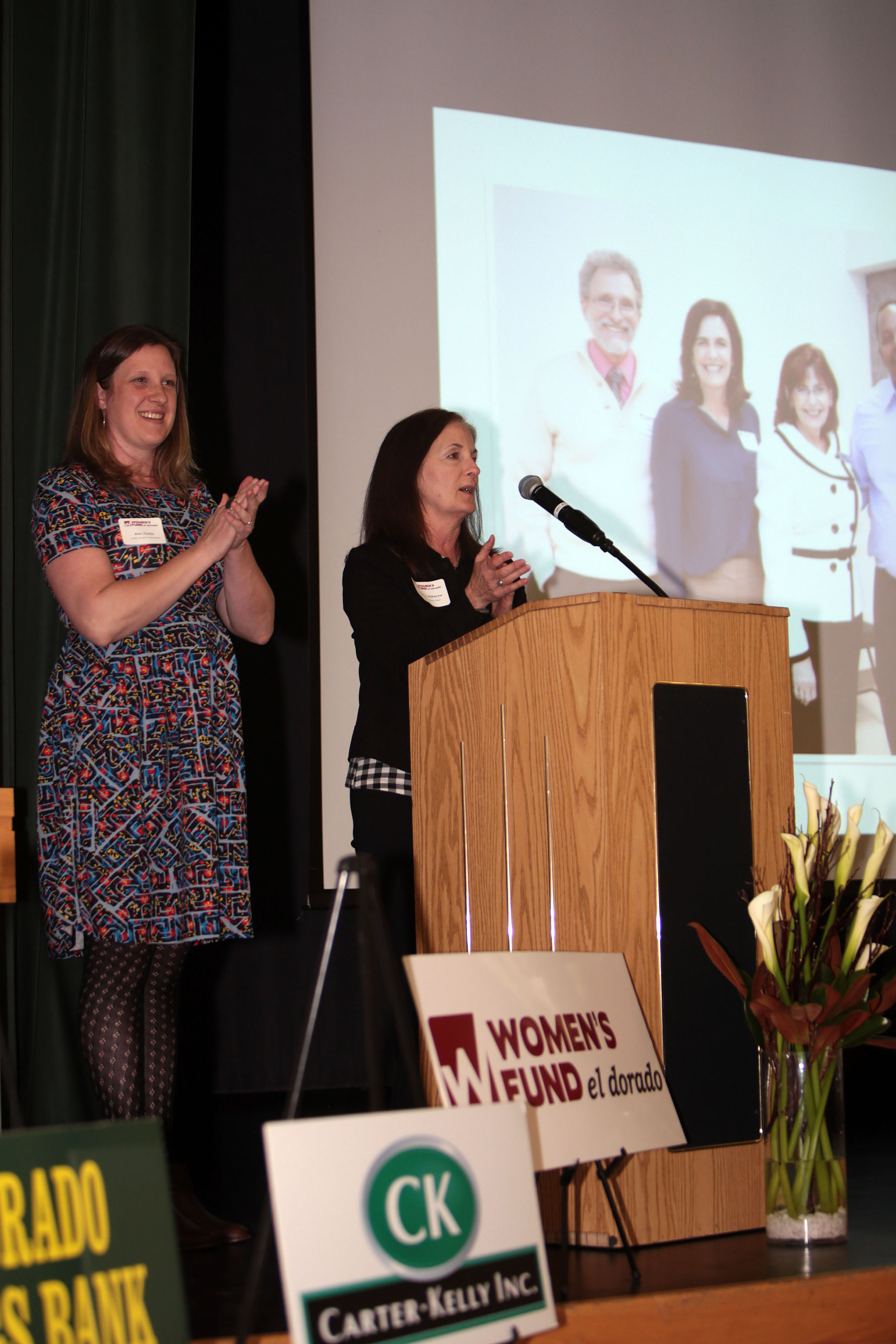Photo 1_WFED Grants Chair, Kathy Witherow, and Committee member, Ann Curtis, welcomed the crowd..jpg