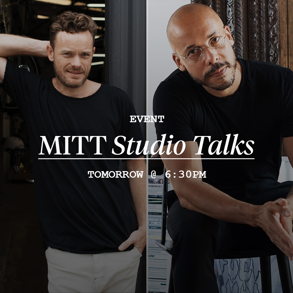 MITT STUDIO TALKS   If you're in Sydney tomorrow night, join us in celebrating issue 4 of   MITT   magazine with our second run of  MITT Studio Talks  featuring  Pablo Chappelli ,  Leonard Mattis  and  Eric Ng  at  Kit and Ace , Surry Hills.   Maker's Mark  will also be on hand holding a free whisky tasting, so it's sure to be a good night! Hope to see you there and bring a friend! :)    RSVP via our Facebook page  .