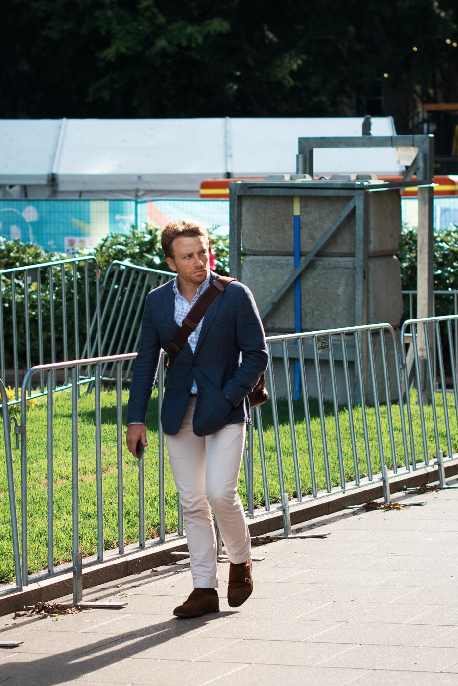 White trouser.  Similar look:  Orlebar Brown Trousers  .