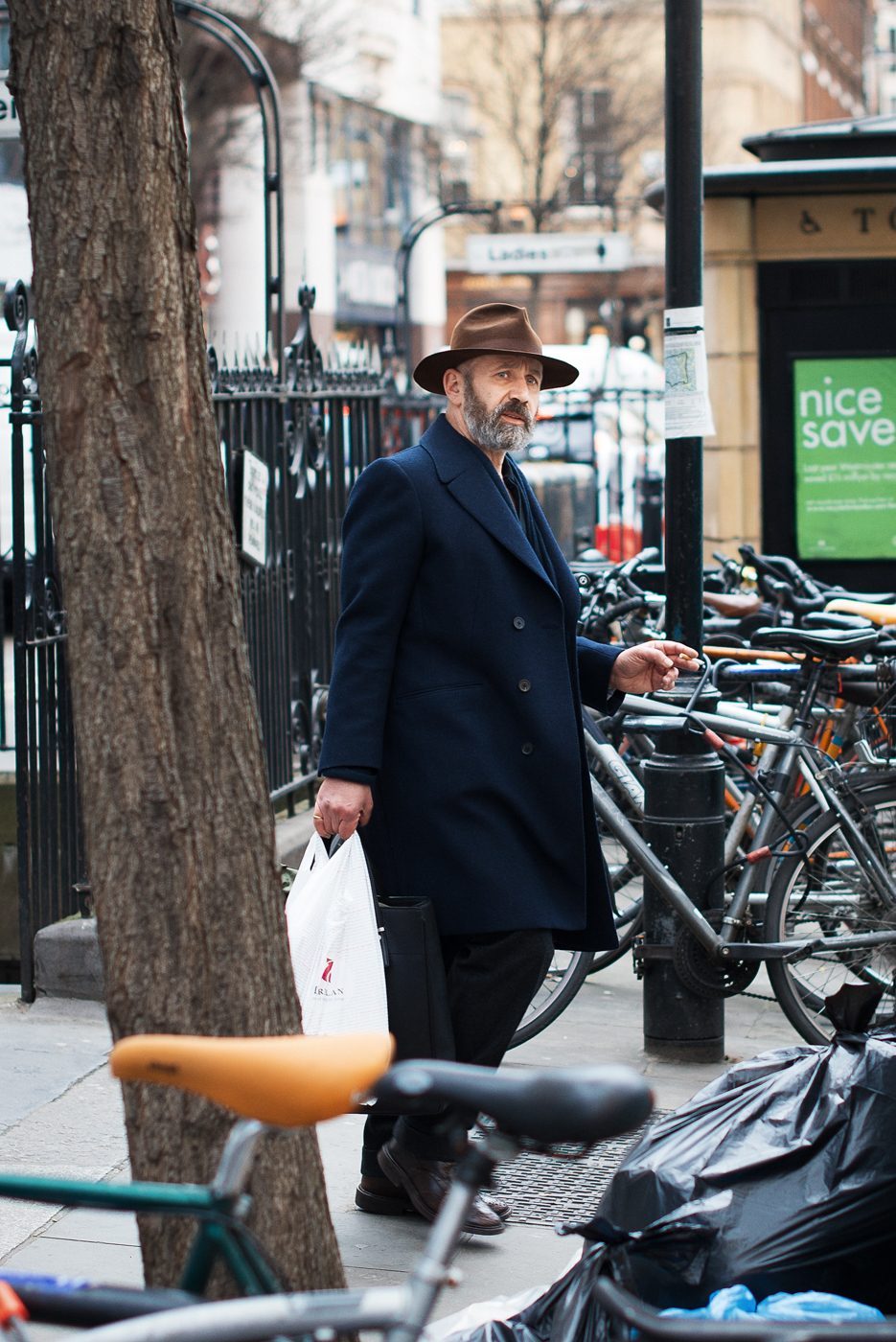 Big brown hat.  Similar look:  Lock & Co Hatters Foldable Wool Hat .