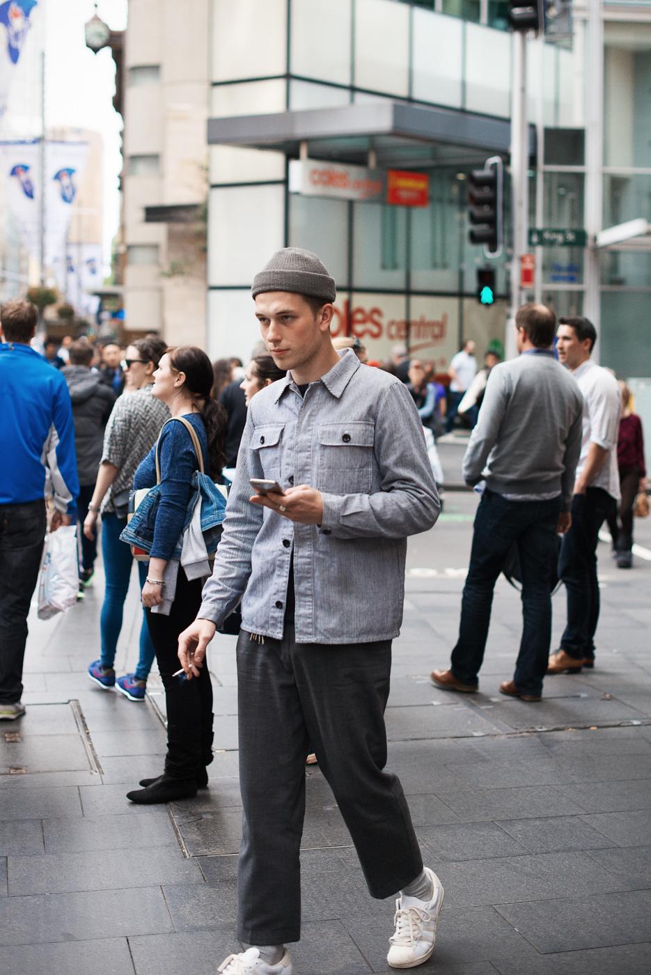 Grey day.  Similar look:   Nudie Jeans Worker Jacket  .