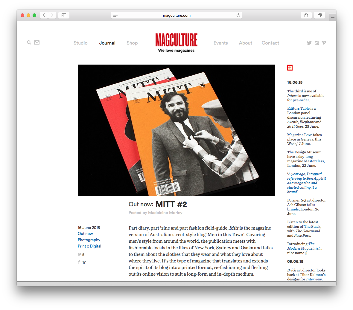 Huge honour to have had   MITT   magazine reviewed by   magCulture   this week!  Issue's 1 and 2 available now at   The MITT Mrkt  .