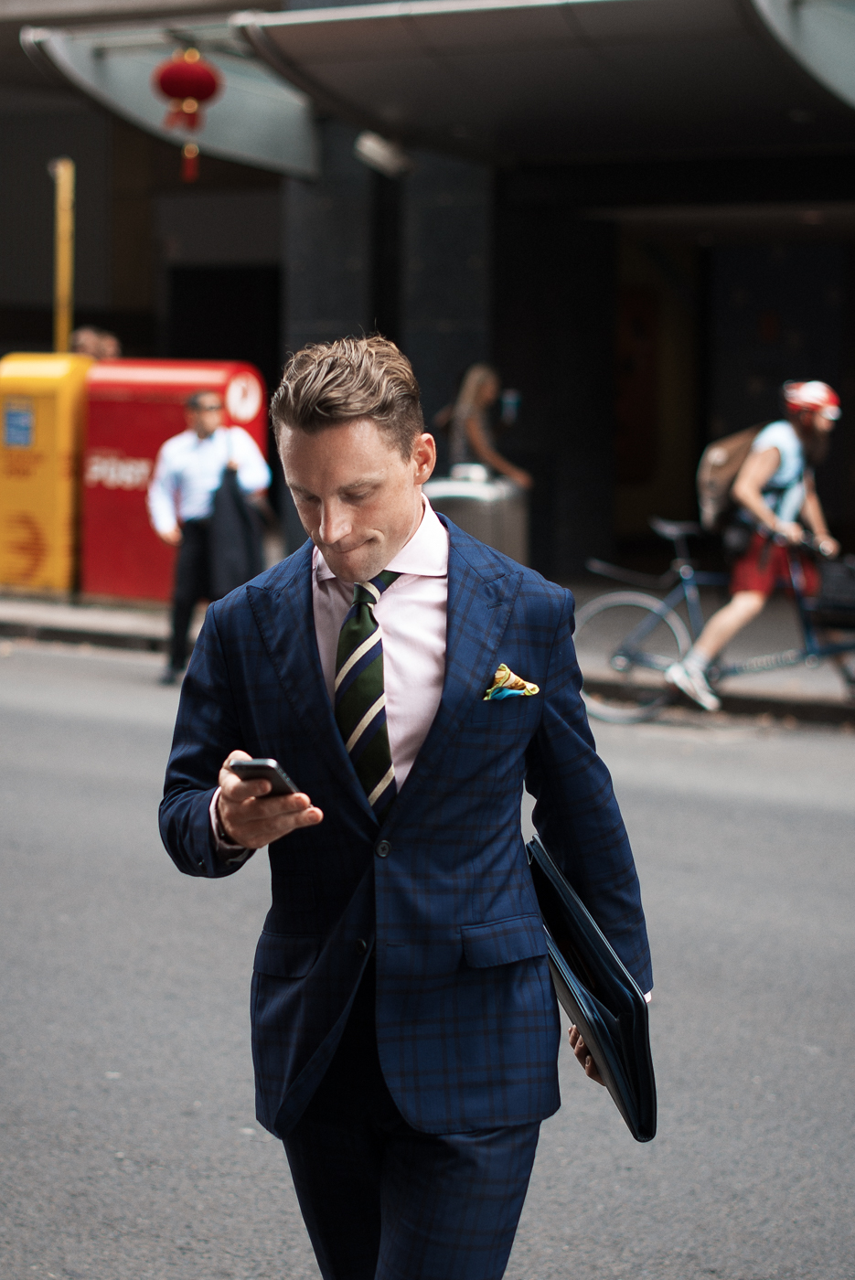 Business pattern.  Similar look:   Noose & Monkey Green Tartan Suit  .