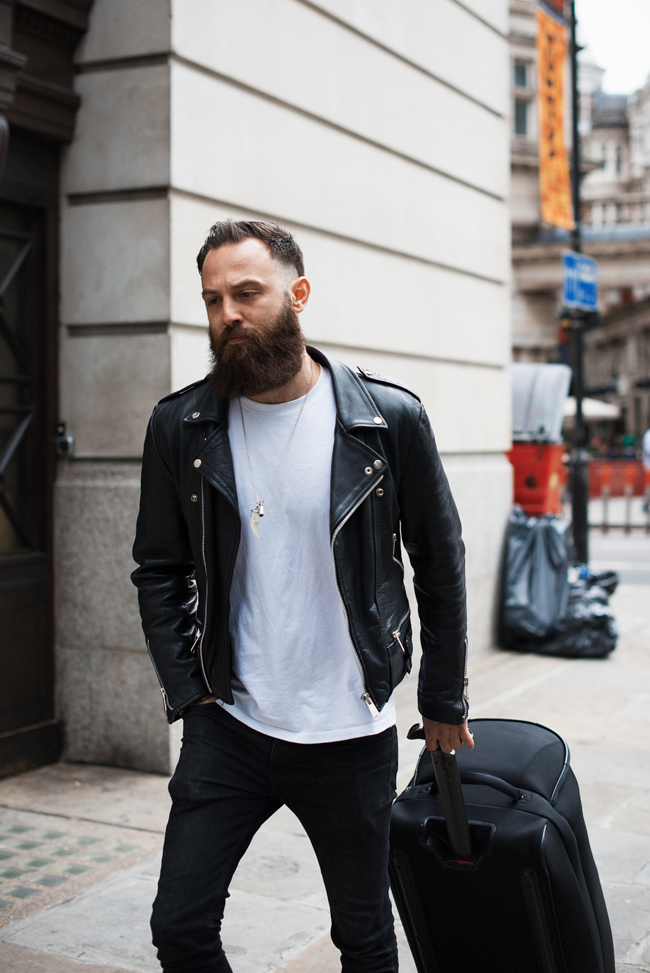 Crew.  Similar look:  Reclaimed Vintage Leather Biker Jacket .