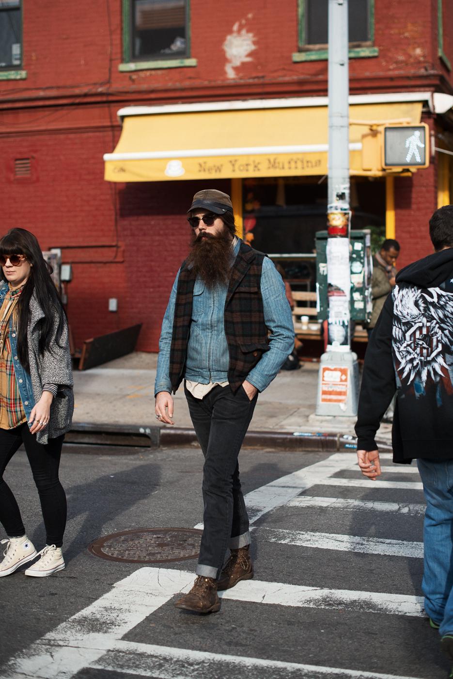 Brooklyn beard.   Similar look:  Denim Jacket in Light Wash  .