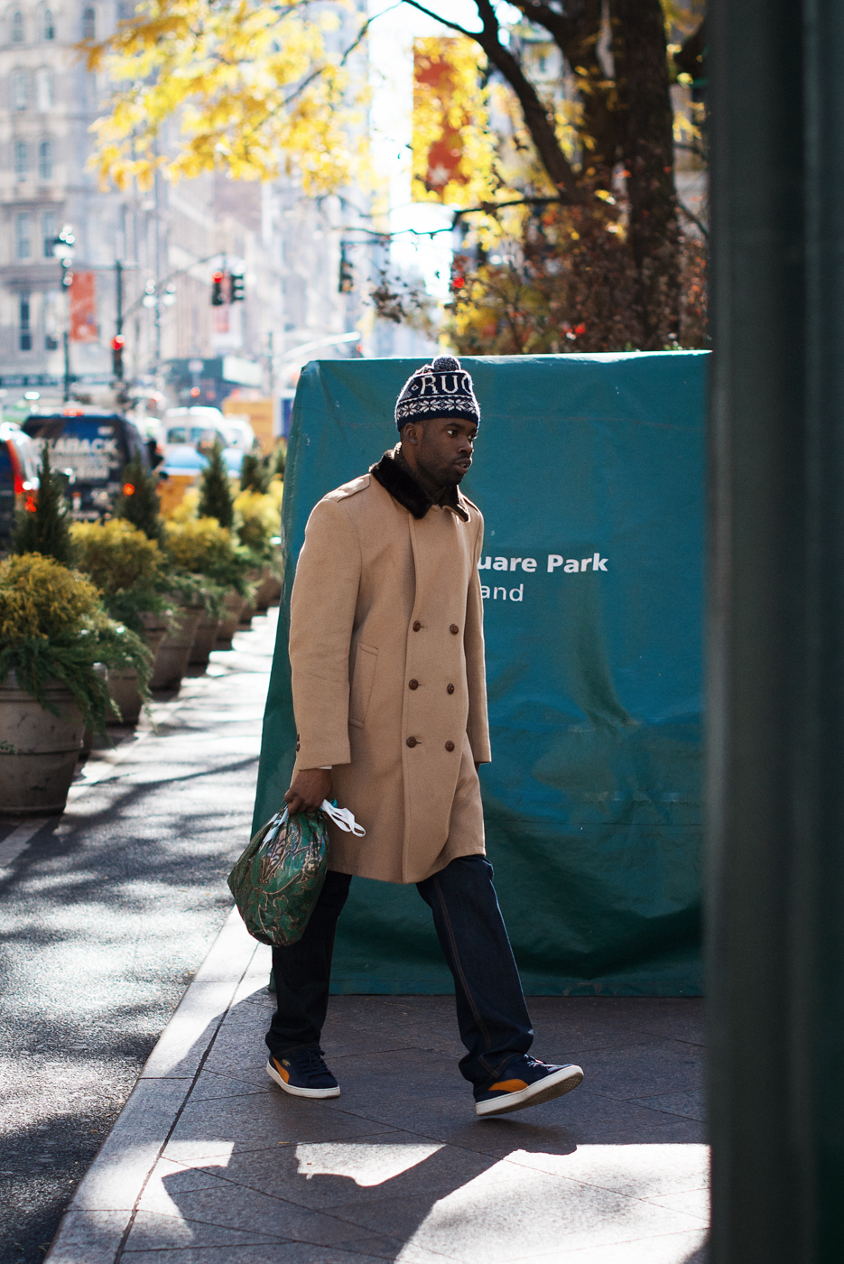 Winter coats are out in NYC.