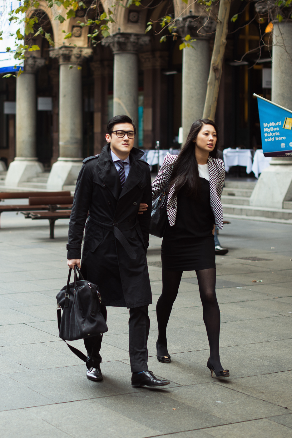 Black trench.   Similar look:  Acne Men's Double Breasted Trench Coat  .