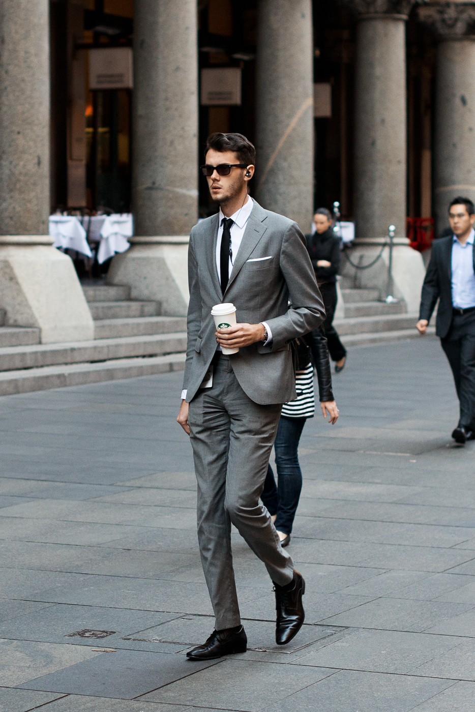 Lungo.   Similar look:   J. Crew Ludlow suit jacket with double vent in Italian oxford cloth  .