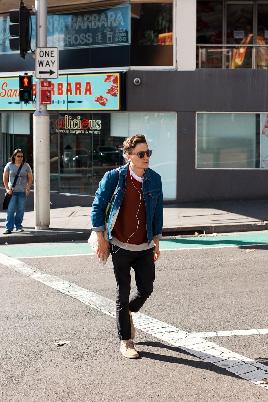 True blue.   Similar look:  ASOS Denim Jacket  .