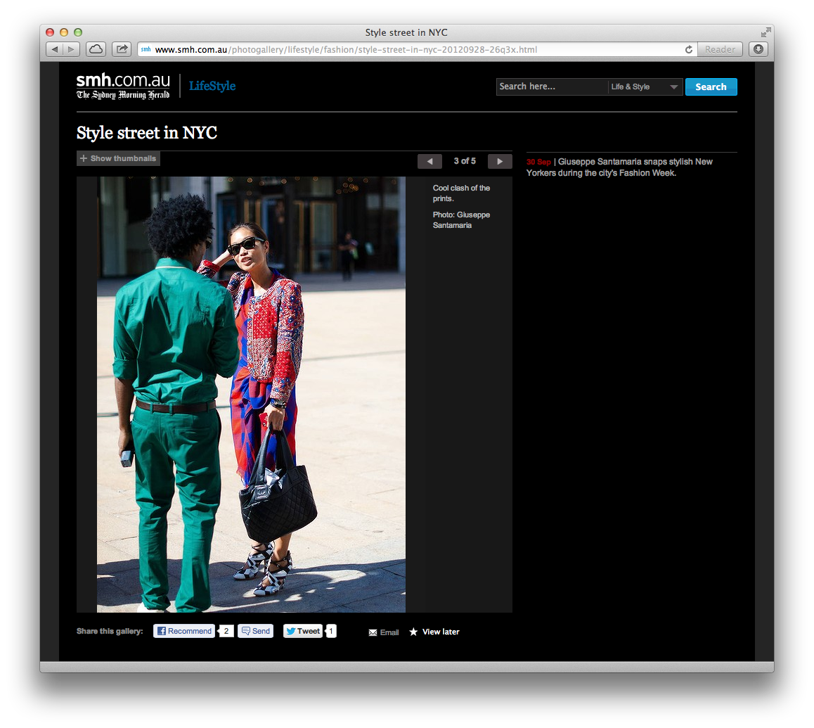 Some of my street style shots from NYFW published this morning on   The Sydney Morning Herald   online … with a rare appearance from some ladies.