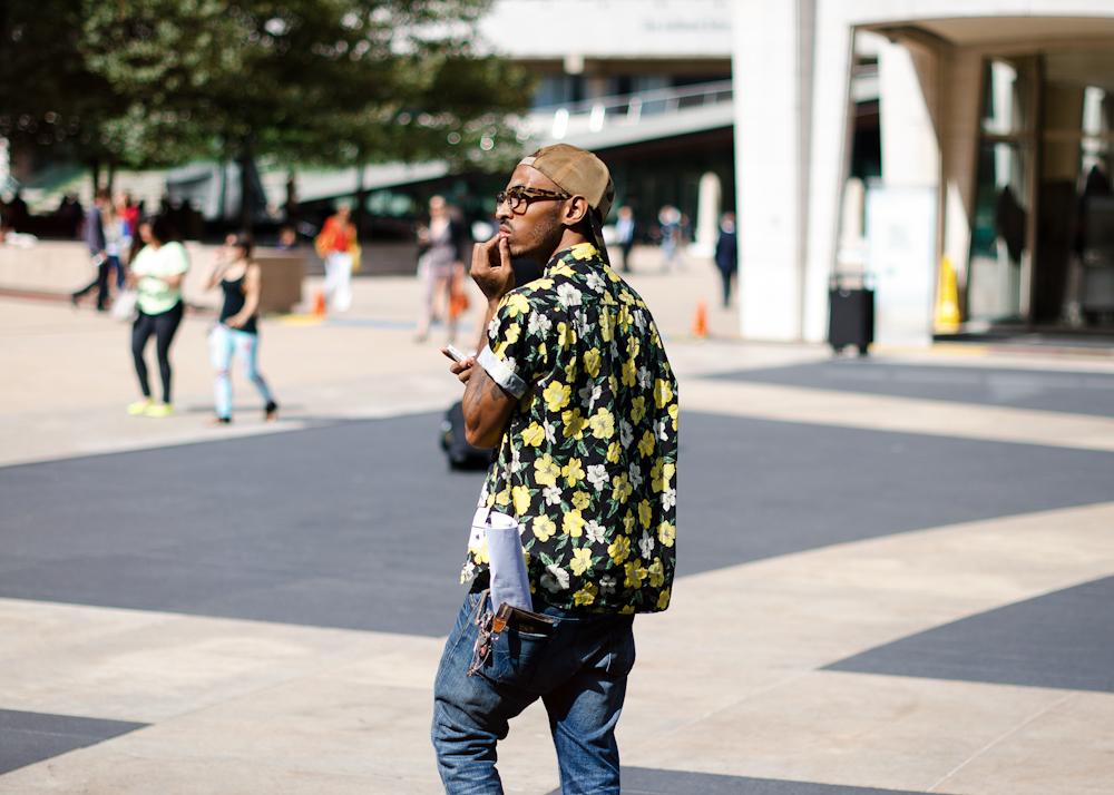 Flower power.   Similar look:  Comme des Garcons Shirt Hawaiian Pattern Shirt  .