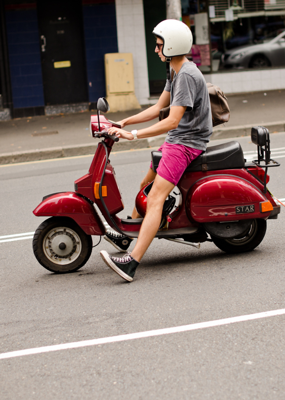 Scooting up Oxford Street.