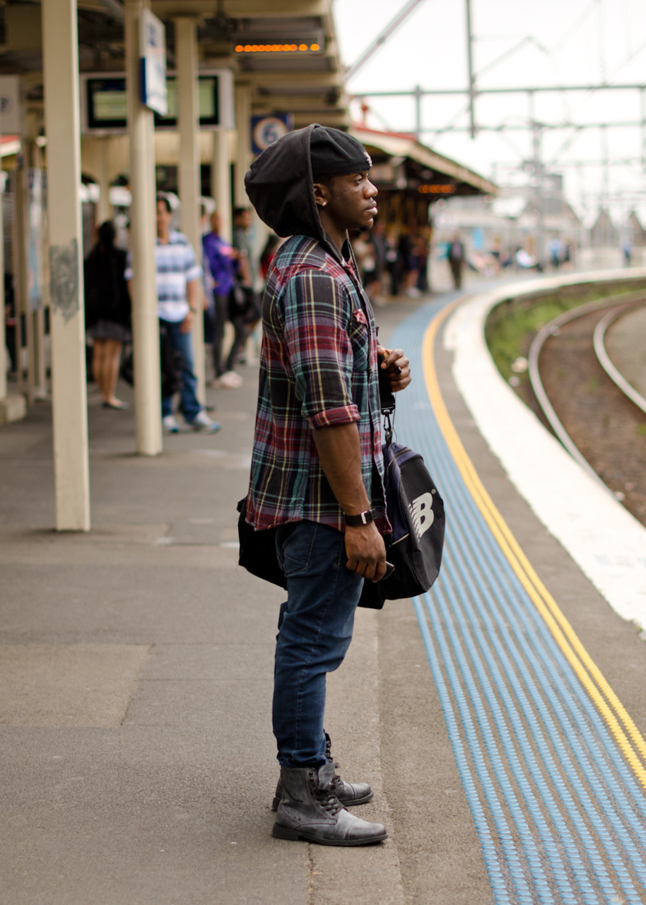 Plaid and hood in Redfern.