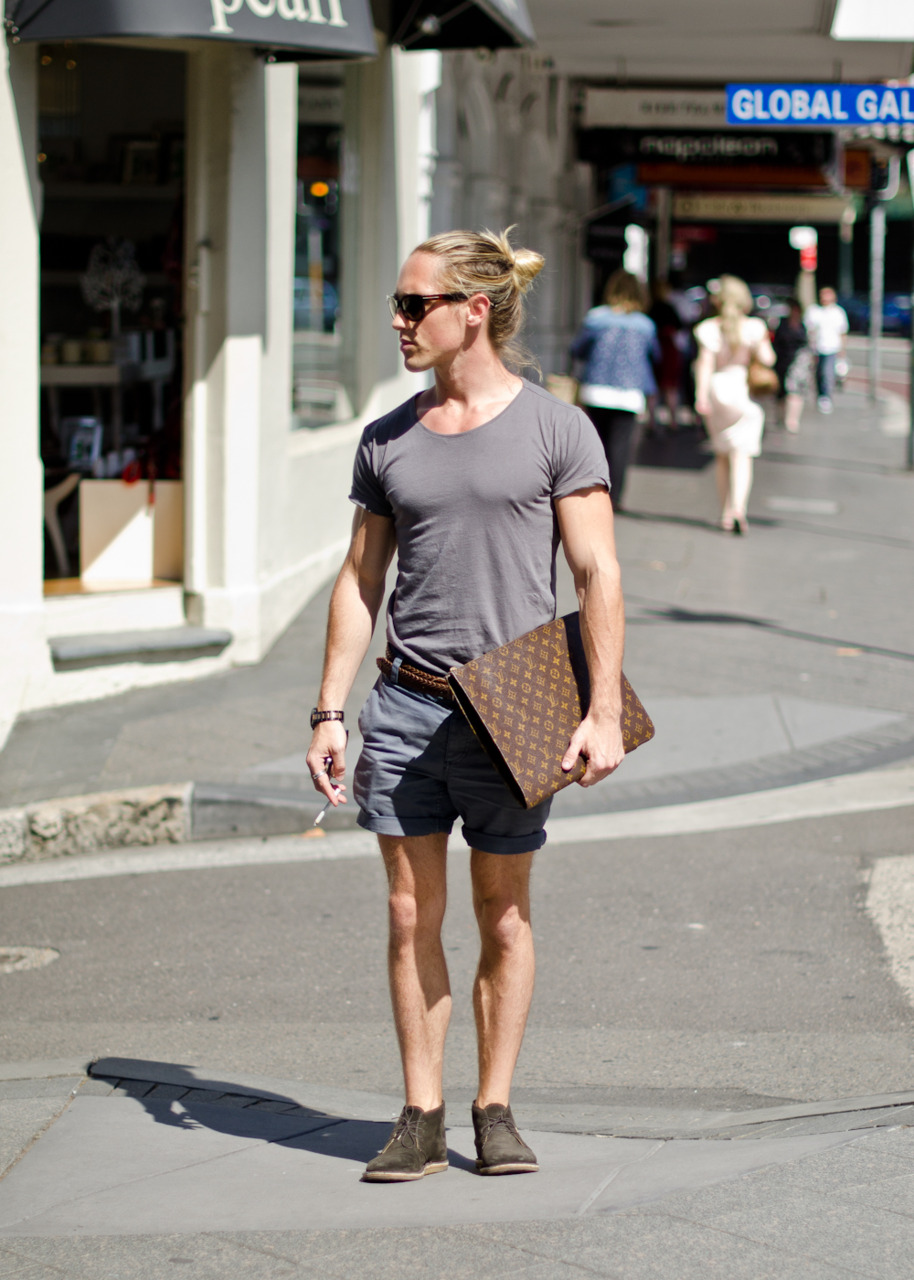 The man's  summer uniform  seems to be getting an upgrade in Sydney, i.e. less  thongs .
