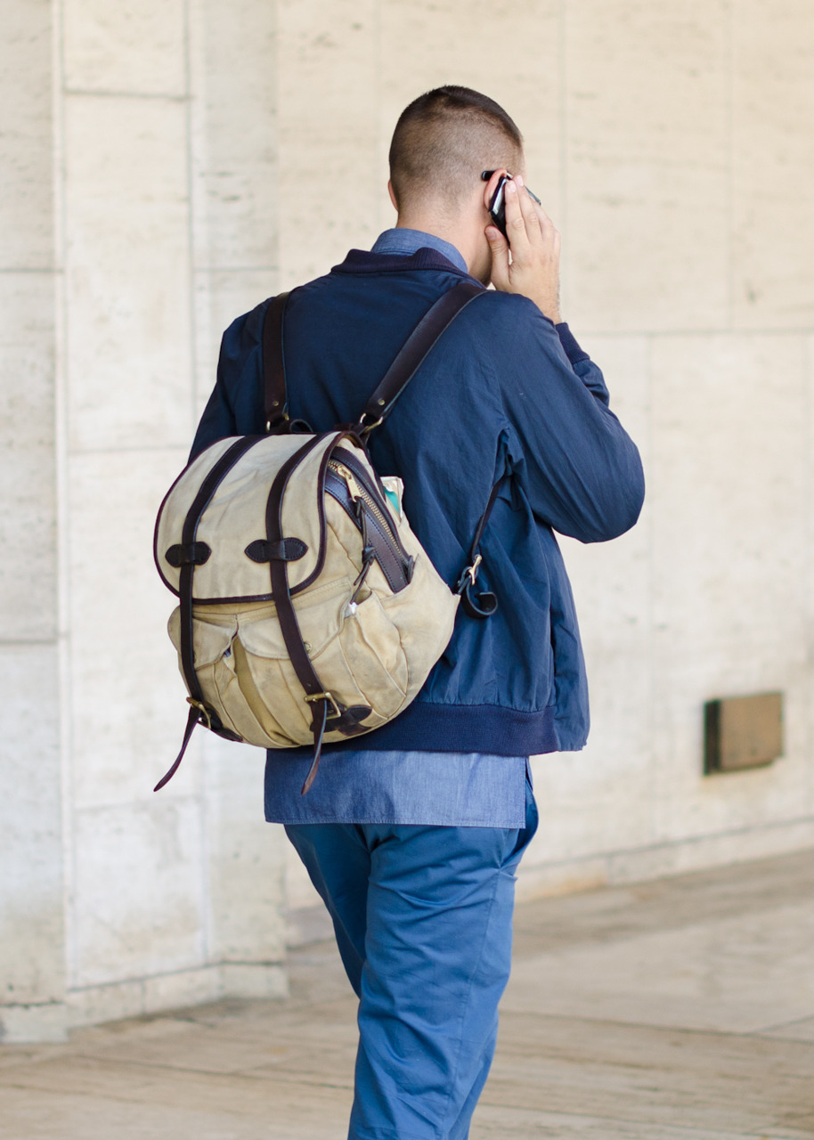 A rucksack, an essential accessory this week.
