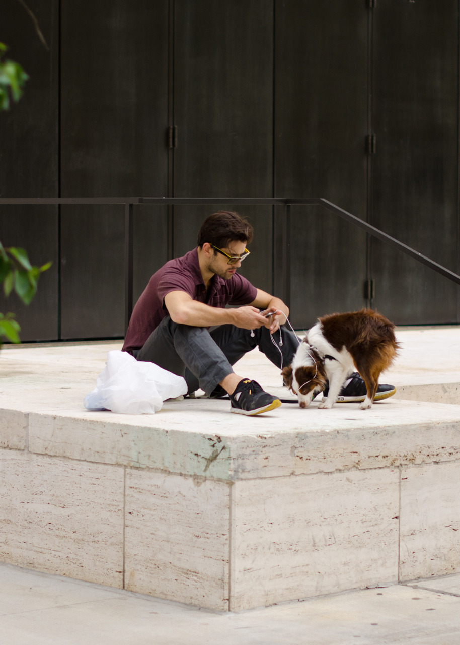 Man's best friend at Lincoln Center.