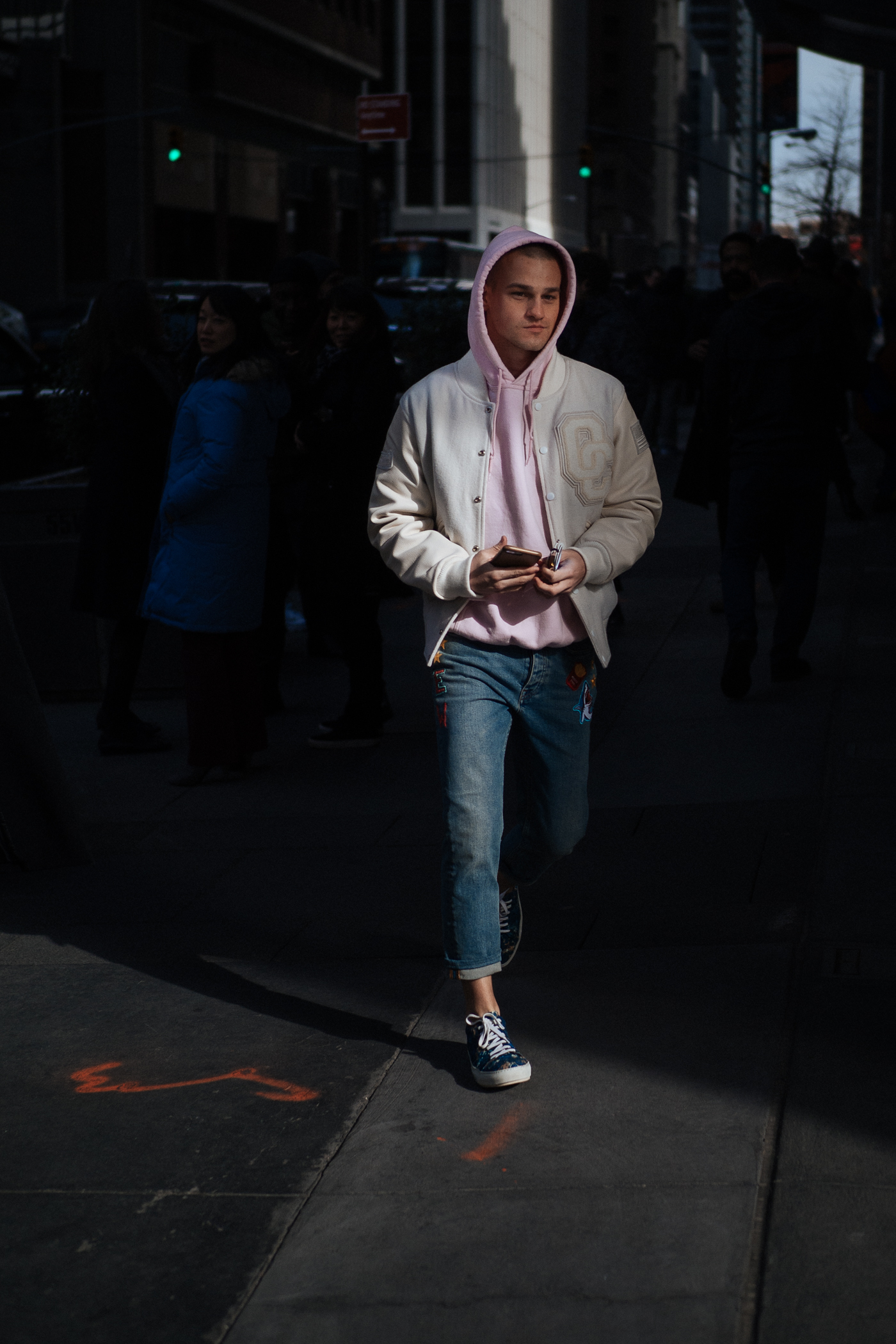 Pink hood at NYFW:M, captured on the  Olympus OM-D E-M1 Mark II .